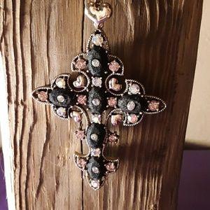 Betsey Johnson Blingy Cross Pendant